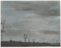 "Danny Williams, ""Converging Power Lines, Sauix-Marchais,"" 2007, powered pigment, charcoal, conté, and ink on paper, Dallas Museum of Art, Texas Artists Fund, 2008.36.4, © Danny Williams"
