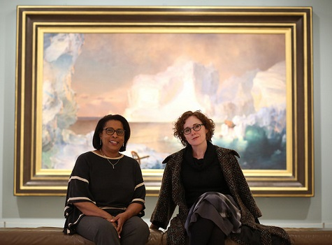 Genet Mamuye and Kendra Greene in front of one of Genet's favorite spots, The Icebergs.