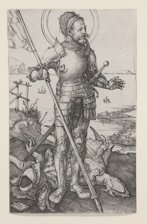 Albrecht Dürer, St. George on Foot, c. 1502 - c. 1503, engraving, Dallas Museum of Art, bequest of Calvin J. Holmes