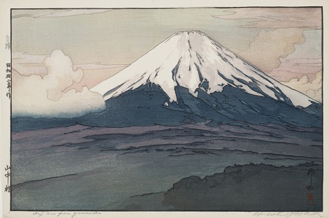 "Hiroshi Yoshida, ""Fuji San from Yamanaka,"" 1928, polychrome woodblock print, Dallas Museum of Art, the Abram C. Joseph and Ruth F. Ring Collection, gift of Miss Ruth F. Ring, 1985.57"