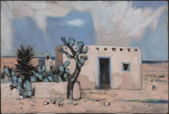"Otis Dozier, ""Mexican Landscape (adobe),"" 1963, oil on Masonite, Dallas Museum of Art, gift of The Dozier Foundation, 1990.46"