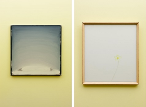 Left: William McKeown, Untitled, 2004-2010, Oil on linen, Dallas Museum of Art, DMA/amfAR Benefit Auction Fund, 2015.44.A-C / Right: William McKeown, Open drawing – Narrow Lane Primrose #2, 2005, Coloring pencil on paper, Dallas Museum of Art, DMA/amfAR Benefit Auction Fund, 2015.44.A-C