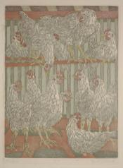 Janet E. Turner, Chickens, c. 1948, Dallas Museum of Art, Richard H. McLarry Prize, 2nd Southwestern Exhibition of Prints and Drawings, 1949