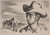 "Jerry Bywaters, ""Ranch Hand and Pony,"" 1945, lithograph, Dallas Museum of Art, gift of Mr. and Mrs. Phil Schepps, 1984.215"