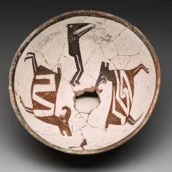 Classic Mimbres Black-on-white bowl: animals, head, and figure, Mogollon Mimbres, 1075–1130, ceramic, slip, and paint, Dallas Museum of Art, Foundation for the Arts Collection, anonymous gift. 1990.219.FA