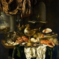 "Abraham Hendricksz van Beyeren, ""Still Life with Landscape,"" 1650s, oil on canvas, Dallas Museum of Art, The Karl and Esther Hoblitzelle Collection, gift of the Hoblitzelle Foundation, 1987.3"