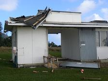 """The damaged """"bomb"""" shed, or Met Service shed."""