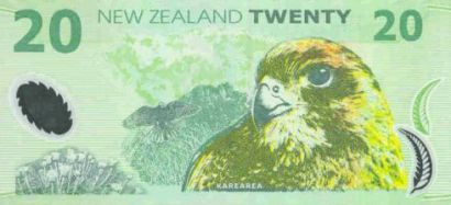 A New Zealand $20 bank note featuring a Kārearea/NZ falcon.