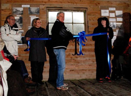 Norm Thompson opens the trail with the help of Luuka Jones and Holly Robinson.
