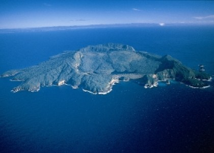 Aerial view of Tuhua/Mayor Island.
