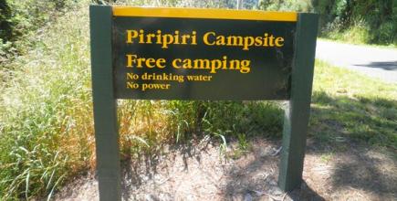 DOC's Piripiri campsite sign.