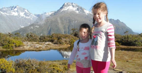 The girls on the Routeburn Track.