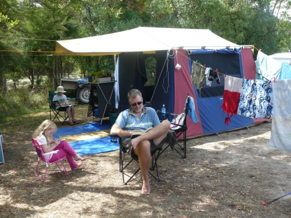 Relaxing outside the tent at Totaranui campground.