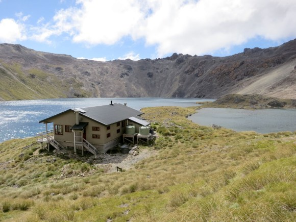 Angelus Hut overlooking the lake.