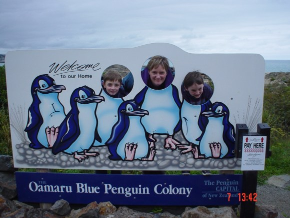 Herb's family at the blue penguin colony in Oamaru.