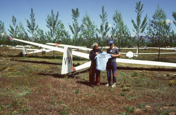 Herb and a friend winning the South Island Regional Gliding Championships.