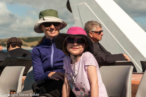 Jenny and Meg on the boat to Tiritiri Matangi Island.
