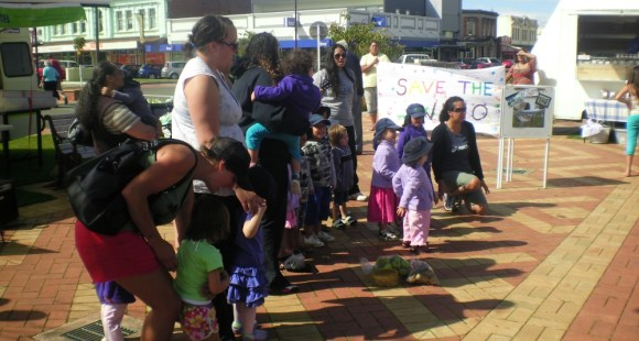 The kohanga reo children sing at the Feilding Farmers' Market.