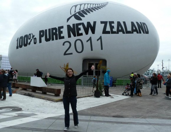 Chantelle outside the Giant Rugby Ball.