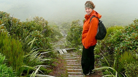 Laura tramping on Mount Taranaki.