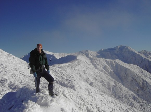 Mark Anderson on the top of the Tararua Ranges after fresh snow.