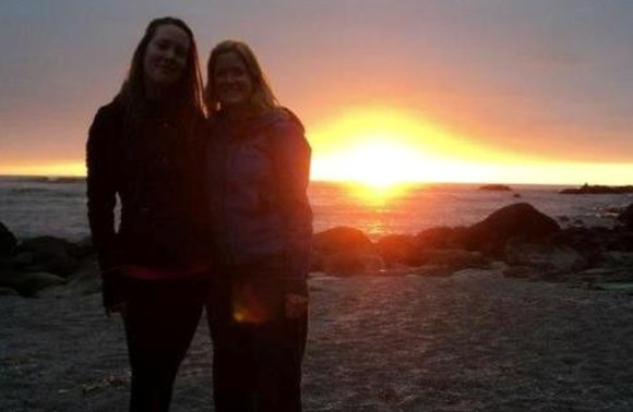 Kaja Vetter and a friend at Martins Bay at sunset.
