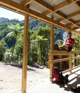 Shane at  Papatahi Hut, Orongorongo Valley.