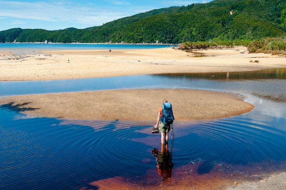 Jean crossing Onetahuti Bay at low tide. Photo: John Strother © All rights reserved.