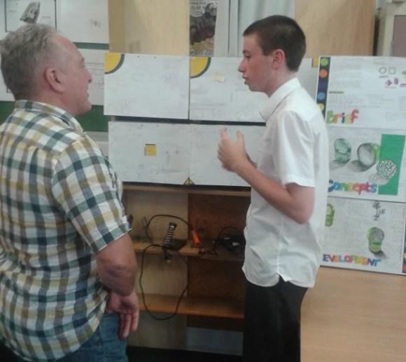 Rangiora student Adam Mitchelmore chats to Jeff Dalley.