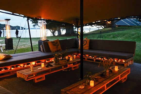 The lounge retreat, part of the glamping site on Motuihe Island