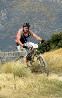 Kris Ramm mountain biking at Makara Peak.