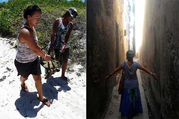Left: Releasing a Hawksbill turtle. Right: Exploring the crooked alleyways of Lamu.