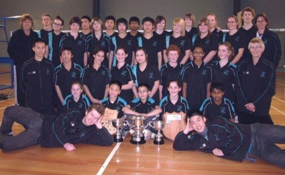 Yang and the Hutt Valley junior badminton teams.