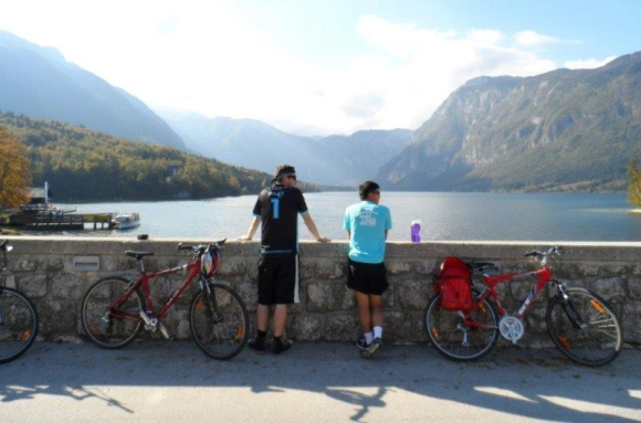 Yang and a friend cycling to Bohinj Lake, Slovenia.