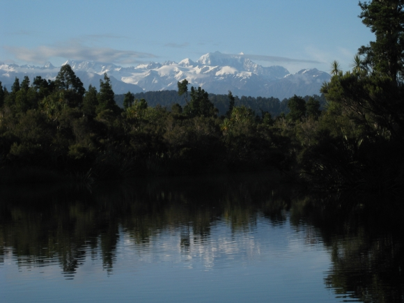 View of the Southern Alps from Ōkārito Lagoon.