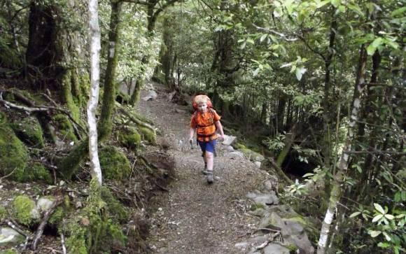 Eight-year-old Fenn walking the Rangiwahia Hut Track.