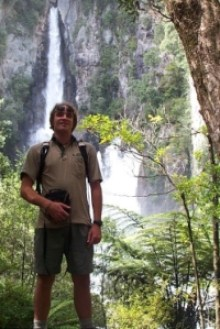 James standing in front of the Tarawera Falls.