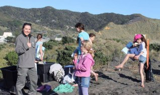 Carisse Enderwick at the children's Beachcare Port Waikato planting day