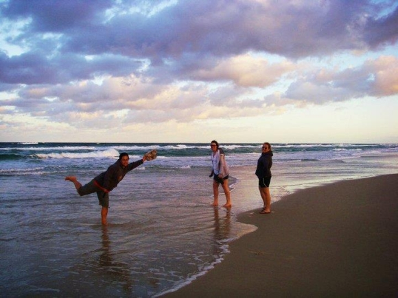 Standing on the beach on Heron Island.
