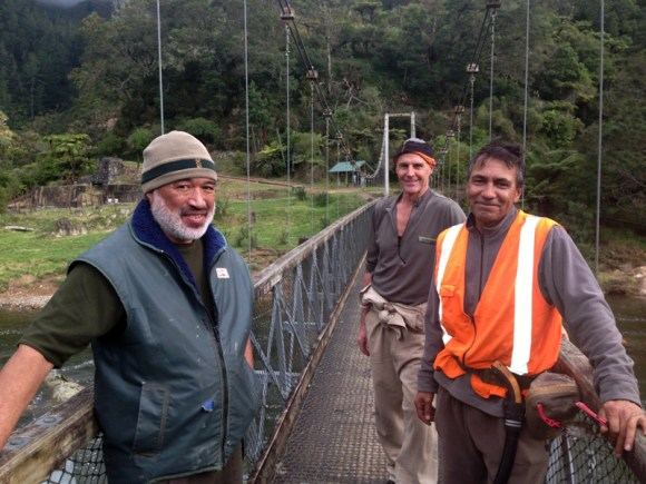 Rangers Tawara Wilson, Warren Geraghty and Des Brownlee from the Services team at Te Aroha
