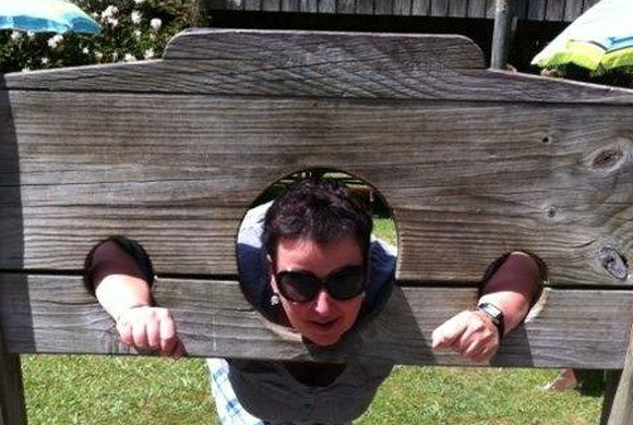 Judit in stocks while on holiday up north.