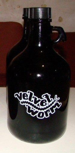 Velvet Worm. Fine, local craft ale in a flagon.