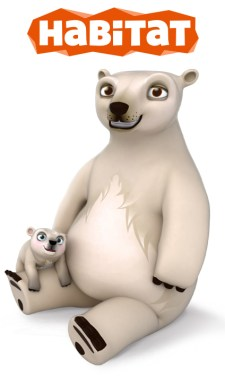 Illustration of polar bear mum and cub from the Habitat Game.