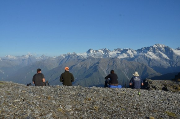 Jack and others sitting high above the Whataroa Valley.