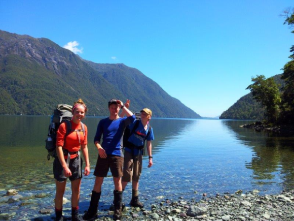 Andy Thompson's family on the Hollyford Track.