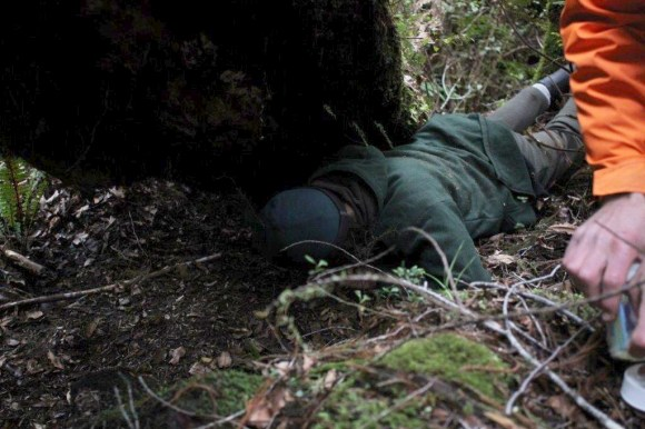 Ranger Ron Van Mierlo delves into the whio nest.