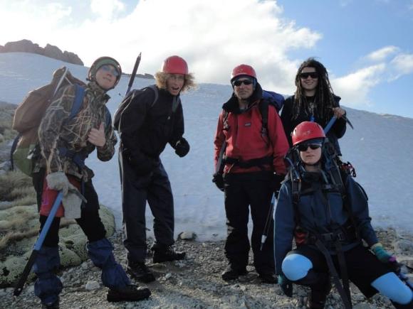 Emma and friends climbing Mount Robert.