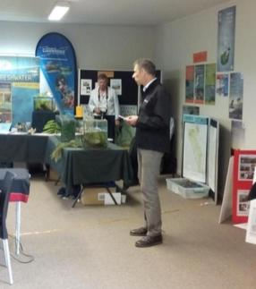 Geoff Ensor speaking at the community open day.