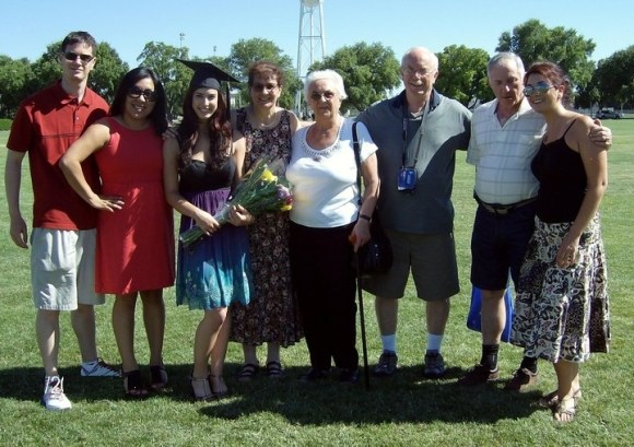 Amy and her family at her graduation ceremony.