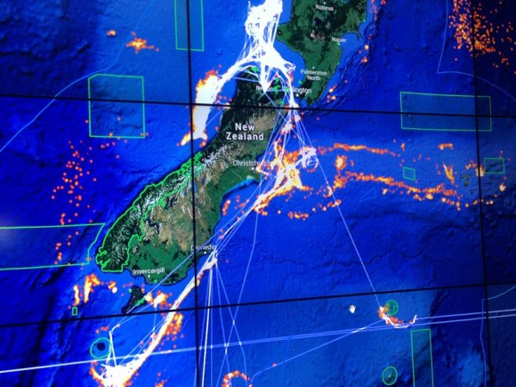 A map showing the movement of a New Zealand fishing vessel around New Zealand over a two-year period.